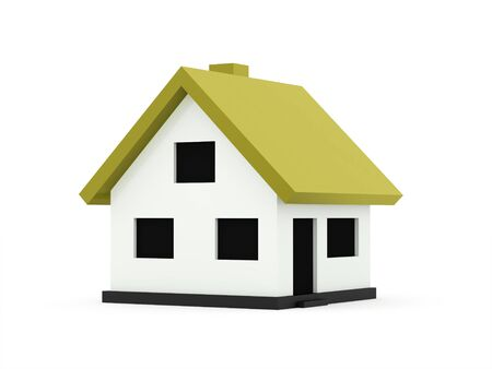 green roof: A small houses business icon with green roof on a white background