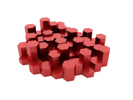 cell wall: Red abstract hexagonal business background rendered
