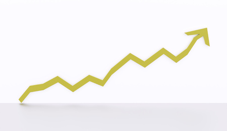 economic interest: Green business graph chart arrow rendered on white background