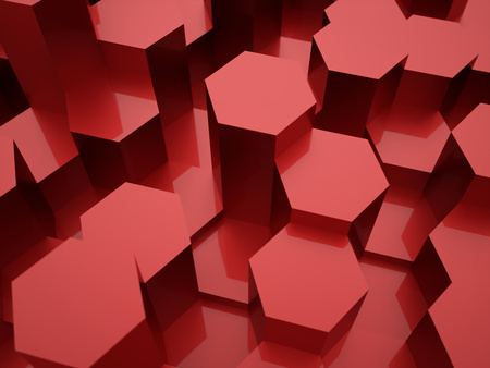 Rode zeshoekige achtergrond structuur gerenderd