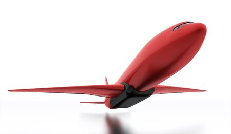 fuselage: Red aeroplane isolated on white background
