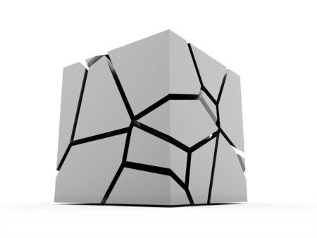 demolish: Cracked silver cube rendered on white background