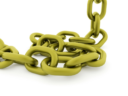 chained link fence: Green chain concept rendered on white background Stock Photo