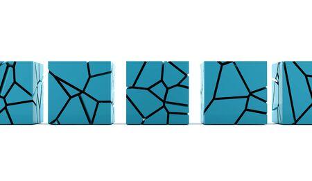 demolish: Cracked blue cube rendered on white background Stock Photo