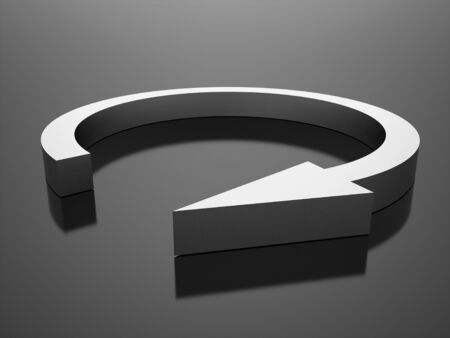 silver circle: Silver circle arrow busines icon rendered