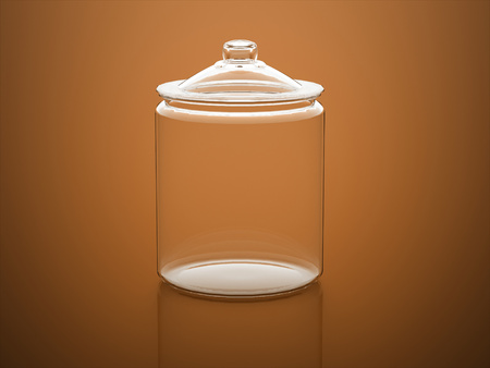 Orange glass rendered on orange background Stock Photo