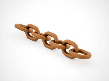chained link fence: Orange chain concept rendered on white background Stock Photo