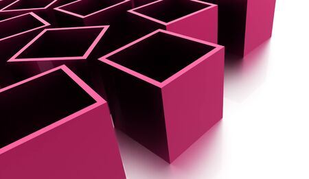 abstract cubes: Pink abstract cubes background rendered