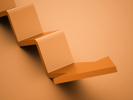 orientation marker: Orange simple business arrows icon rendered Stock Photo