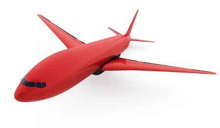 turbine engine: Red aeroplane isolated on white background