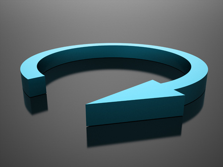 busines: Blue circle arrow busines icon rendered