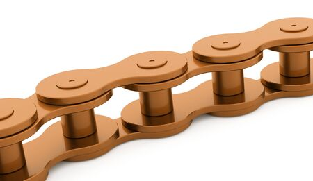 bicycle chain: Orange bicycle chain rendered on white background Stock Photo