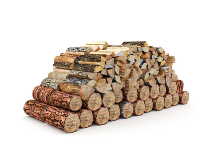 rendered: Fire wood isolated on white rendered