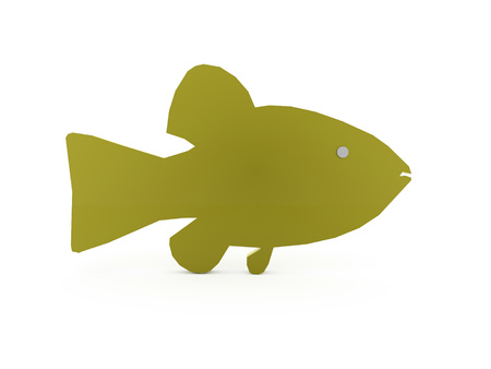 goldfish jump: Green abstract fish rendered isolated on white background Stock Photo