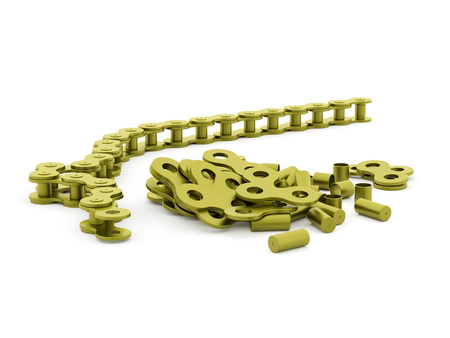 link work: Green bicycle chain rendered on white background