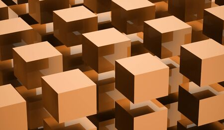 abstract cubes: Orange abstract cubes background rendered on white background