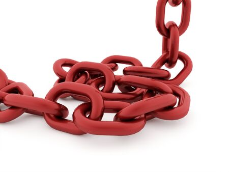 Red chain concept rendered on white background