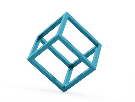 identity card: 3D cube design icon on blue