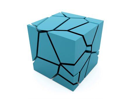 Cracked blue cube rendered on white background Stock Photo