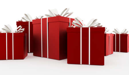 Red christmas present with ribbon rendered Stock Photo