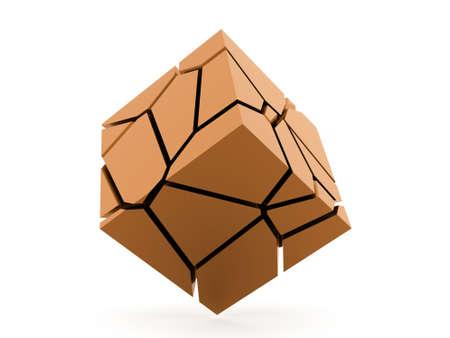Cracked orange cube rendered on white background Stock Photo