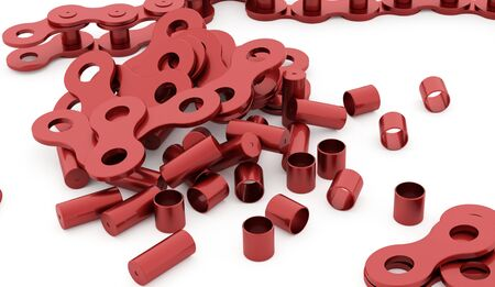 Red bicycle chain rendered on white background Stock Photo