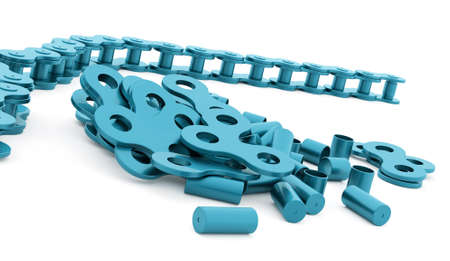 link work: Blue bicycle chain rendered on white background