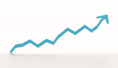 blue arrow: Blue business graph chart arrow rendered on white background