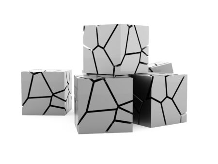 Cracked silver cube rendered on white background