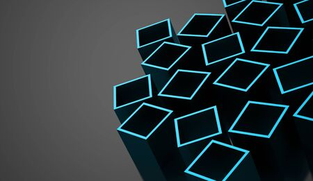 Blue abstract cubes background rendered Stock Photo