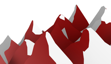 ranger: Red mountain abstract rendered on white background Stock Photo