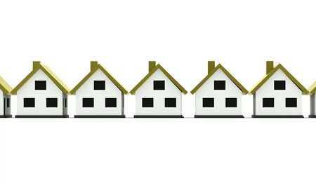 A small houses business icon with green roof on a white background