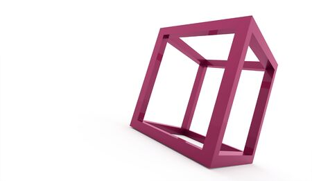 3D cube logo design icon on pink