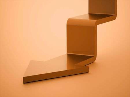upstairs: Orange stair arrow business concept rendered Stock Photo