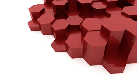 Red abstract hexagonal business background rendered