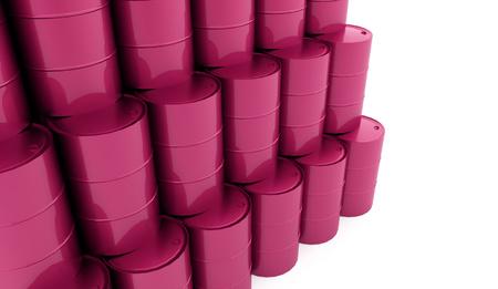 steel drum: Pink petrol barrels on white background rendered