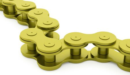 bicycle chain: Green bicycle chain rendered on white background
