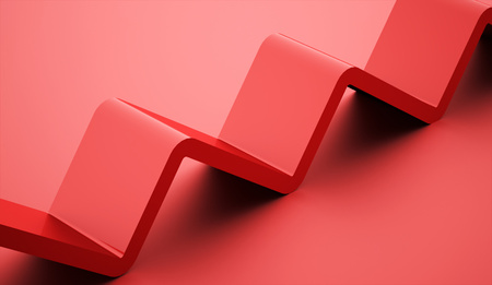 moving down: Red simple stair line icon on blue background Stock Photo
