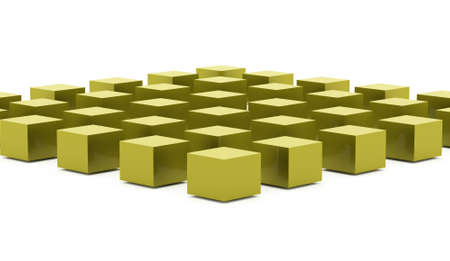 Green abstract cubes background rendered on white background Stock Photo