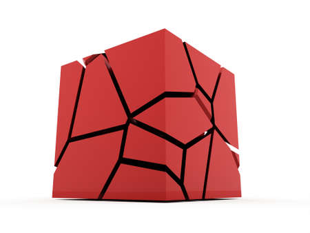 red cube: Cracked red cube rendered on white background