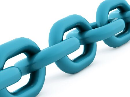 chained link fence: Blue chain concept rendered on white background