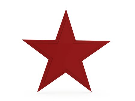 Red star rendered isolated on white background