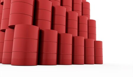 Red petrol barrels on white background rendered