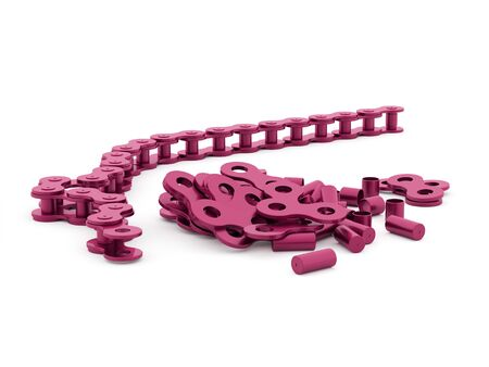 link work: Pink bicycle chain rendered on white background