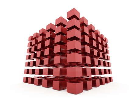 Red abstract cubes background rendered on white background Stock Photo