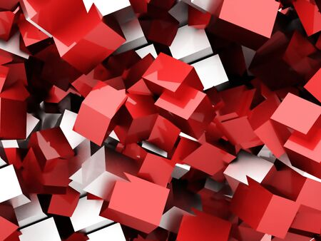 abstract cubes: Red abstract geometric cubes background rendered