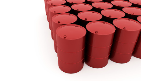 steel drum: Red petrol barrels on white background rendered