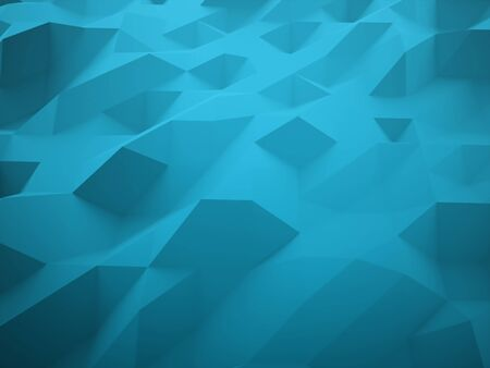 futuristic nature: Blue abstract triangle background rendered Stock Photo