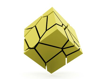 Cracked green cube rendered on white background
