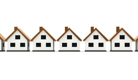 A small houses business icon with orange roof on a white background Stock Photo